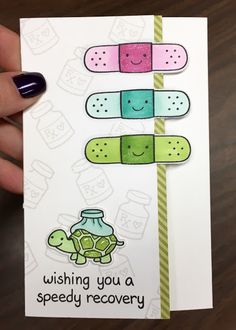 "Get well card using Lawn Fawn stamp set ""On the Mend"". Love this uber cute turtle!"
