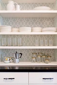 pantry or kitchen shelf walls wallpaper