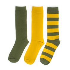 Green + Gold 3-Pack Crew Socks #Packers #Wisconsin #Packer