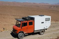 """Mercedes (the model prior to the """"Vario""""), no electronics, solid engines, unfortunately difficult to convert to single rear wheels. We took one to Morocco years ago and had constant problems with rocks jammed between the rear wheels. Mercedes Camper, Old Mercedes, Overland Truck, Adventure Campers, Heavy Truck, Expedition Vehicle, Firetruck, Truck Camper, Travel Trailers"""