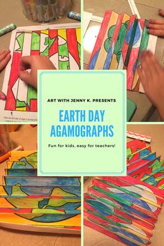 "Agamographs make for a fun and engaging Earth Day activity for kids. This project has a big ""wow factor"" for everyone in the classroom! #earthdayactivites #earthdayactivitesforkids #agamographs #artwithjennyk"
