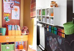 Nesta parede, a criançada pode escolher se rabisca na lousa, no rolo de papel e ainda tem os lápis e gizes todos organizados.Crédito: http://simplesdecoracao.com.br/  E para deixar a brinquedoteca organizada, aposte em caixas, estantes, nichos e porta-livros. Assim a criança aprende a manter ordem no espaço.Crédito: http://newsespacohome.blogspot.com.br/