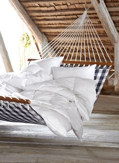Hastens Sweden Hammock in bedroom and great ceiling.