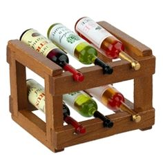 Filled Wine Rack from Reutter Porzellan Dollhouse Kits, Dollhouse Miniatures, Miniature Bottles, Wine Rack, Ale, Good Things, Homemade, Dollhouses, Furniture