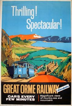 Great Orme Railway Llandudno - original vintage poster listed on AntikBar.co.uk