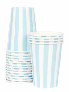 Paper Cups - Light Blue Stripes