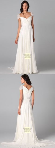 Lace Cap Sleeve Wedding Dress...pretty sleeve but don't like the train or the high back