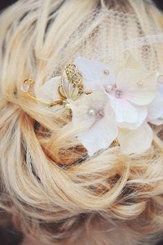 Bridal Comb Floral Bridal comb Wedding comb Blush pink wedding hairpieces Vintage Hair accessories Wedding headpiece Wedding fascinator. $120.00, via Etsy.