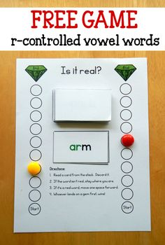 Trying to help your students master those tricky r controlled vowels? Try this quick reading activity! Print the cards you'd like and read each word. If it's a real word, move closer to the gem.