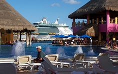 We stayed in port in Costa Maya and enjoyed swimming right up to the bar. :)