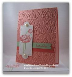 handmade card ... clean and simple design ... coral base card with vanilla and pale green embellishments ... gorgeous texture from embossing folder with a few tiny pearls hidden in it .,.. simple die cut tag with pierced edges ... colored flower ... beautiful card ... Stampin' Up!!
