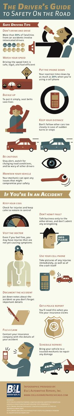 Drinking and driving is responsible for more than 30 percent of car accidents that cause fatalities. Never get behind the wheel after drinking. This infographic from a collision repair company in Chicago has more tips on staying safe on the road. Safe Driving Tips, Driving Safety, Car Safety Tips, Drivers Ed, Car Facts, Distracted Driving, Car Insurance Tips, Living On The Road, Morris