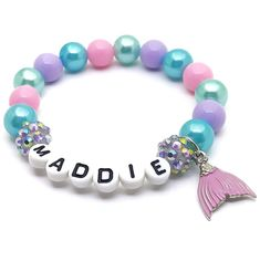 This adorable stretchy bracelet features an enameled mermaid tail charm with rhinestone accents, alphabet beads, resin rhinestone beads and 10mm acrylic beads double strung with durable stretch floss cord. The shade of pink on the tail varies a little between batches. The pink beads used will match Mermaid Names, Unicorn Jewelry, Alphabet Beads, Personalized Gifts For Kids, Small Jewelry Box, Name Bracelet, Jewelry Shop, Pink Girl, Beaded Bracelets
