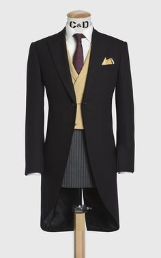 Three piece morning suit with yellow doeskin waistcoat, made up in a black barrathea flannel cloth. www.cadandthedandy.co.uk