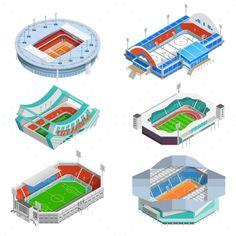 Stadium Icons Set by macrovector Sport stadium isometric icons set with football and hockey stadiums isolated vector illustration. Editable EPS and Render in JPG f