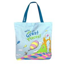 Reversible Tote Bag has Multiple uses, Light-Weight Strong, Durable for Everyday use Dr Seuss Oh The Places