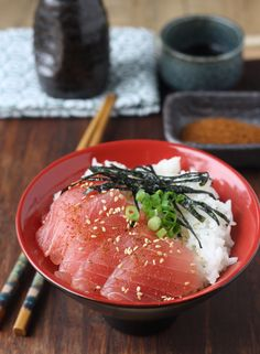 Tekkadon - Tuna Sashimi Rice Bowl with Japanese Seven Spice | SeasonWithSpice.com