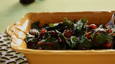 Spicy Kale with Fried Grapes and Frizzled Red Onions