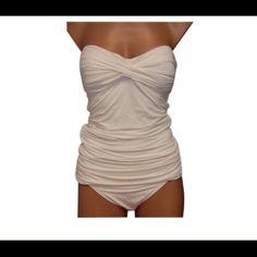New Carmen Marc Valvo Shirred Bandeau Tankini o Off-white.polyester spandex. shelf bra. Machine wash. Ties in the back. Med 6/8 large 10/12 Carmen Marc Valvo Swim Bikinis