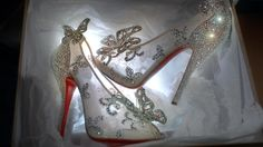 A Cinderella-inspired glass slipper, designed by Christian Louboutin.
