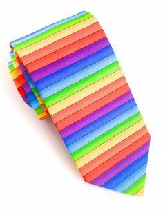 Rainbow Stripe Tie #VanBuck #Tie #NeckTie #Ties #Rainbow #Novelty #Colourful #Accessories #MensAccessories   http://www.fabties.com/ties/novelty-ties/rainbow-stripe-tie.html
