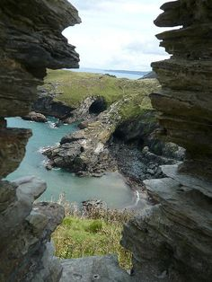Merlin's Cave from Tintagel Castle, Cornwall, England
