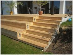 Deck Steps, Garden Steps, Wooden Terrace, Wooden Decks, Backyard Patio, Backyard Landscaping, Patio Deck Designs, Outdoor Gardens, Outdoor Living