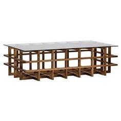Falken Coastal Dark Brown Walnut Lattice Crate Glass Coffee Table | Kathy Kuo Home