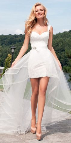 beautiful sweatheart short wedding dresses with court train oksana mukha