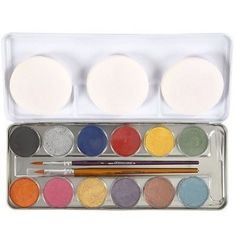 Metal box with water makeup from Eulenspiegel. Content: 12 pearlised Colours each of ml, 2 pcs. Metal Box, Pearl Color, Makeup Palette, Eyeshadow, Colours, Pearls, Creative, Products, Rolling Makeup Case