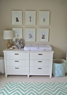 Olive Lane Gender Neutral Nursery Animal Print Shop Little Darlings Gallery Wall Pottery Barn Emery Dresser White Mint Chevron Rug