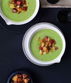 Australian Gourmet Traveller Spanish recipe for pea and sherry soup with chorizo oil and croûtons.