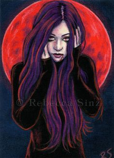 ORIGINAL ACEO ART Gothic Halloween Vampire Red Blood Moon Full Moon Purple Hair #Realism