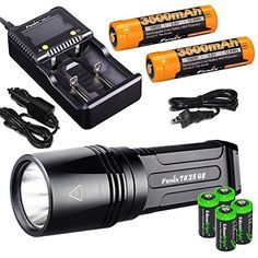 FENIX Ultimate Edition Lumen LED Tactical Flashlight /w 2 X Fenix rechargeable batteries, 4 X EdisonBright Lithium batteries, Fenix charger, in-car Charger adapter bundle 2000 Rechargeable Battery Charger, Charger Adapter, Super Bright Flashlight, Solar Panel System, Camping Lights, Camping Equipment, Outdoor Recreation, Led Flashlight, Car