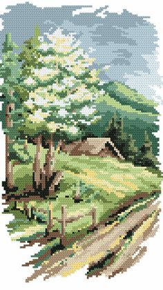 free cross stitch patterns in pdf format with landscape of summer