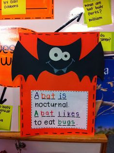 definitely doing an art project with this adorable bat. make the writing a little more challenging of course. Halloween Activities, Autumn Activities, Therapy Activities, Preschool Activities, Bat Craft, Kindergarten Science, Kid Science, Kindergarten Classroom, Art Classroom