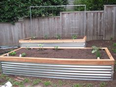 raised garden corrugated metal raised beds would be lovely in the front of the building with tall grass varieties and succulents. Raised Garden Beds, Raised Beds, Raised Gardens, Metal Planter Boxes, Corrugated Metal, Garden Boxes, Garden Projects, Garden Ideas, Garden Fun