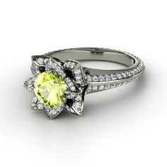 Round Peridot, Multi-stone, Prong Set Ring in 14K White Gold