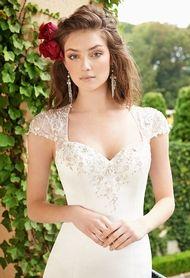 Trumpet Wedding Dress with Illusion Cap Sleeve