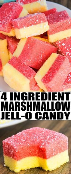 Easy JELLO MARSHMALLOW candy recipe or JELLO pinwheels, made in 1 hour with 4 basic ingredients. This is a simple no bake dessert or snack for kids parties or Christmas holidays. {Ad} From cakewhiz.com #candy #marshmallows #recipes #dessert #nobake