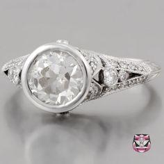 Art Deco Engagement Ring - Certified 1.50ct I/SI European Diamond