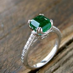 Emerald Engagement Ring in 14K White Gold with Diamonds Scrolls and Double Claw Prongs Size 6 - http://emerald-engagementring.com/emerald-engagement-ring-in-14k-white-gold-with-diamonds-scrolls-and-double-claw-prongs-size-6/