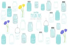 Check out Mason Jars - Vector & PNG by rachelwhiteart on Creative Market