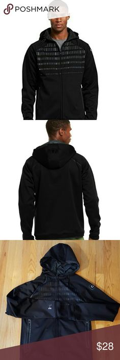 Men's C1N Signature Full Zip Hoodie Under Armour Storm hear uses a DEAR finish to repel water and keep breathability. Upper back and hood use ColdGear Infrared technology on the interior to hold heat without added weight. Windproof, soft fleece with 3-layer bonded construction. Zip hand pockets. Great condition, just a little pilling at cuffs. Part of UA Cam Newton collection. Small fits chest 34-36 Under Armour Jackets & Coats