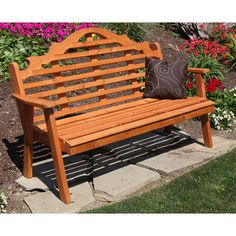 A&L Furniture Marlboro Wood Garden Bench Finish: Linden Leaf, Size: 4'