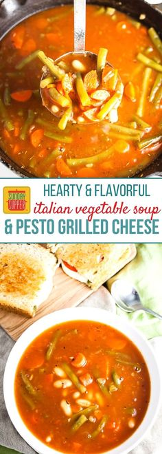A hearty and flavorful meal that's great any time of the year! You will love how EASY our Pesto Grilled Cheese and Italian Vegetable Soup is to prepare, and the flavor combo of this grilled cheese and soup pairing will quickly become a family fave! The PERFECT lunch meal, weekday supper, or even a casual Sunday Supper. #SundaySupper #WeekdaySupper #GrilledCheese #VegetableSoup #EasyRecipe #lunchrecipe