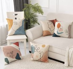 Abstract Face Pattern Cushion Cover 45cm x 45cm - 4