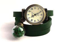 Skórzany zegarek z mchem w EgginEgg na DaWanda.com