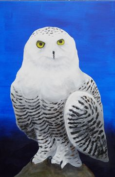Snowowl with Acrylic painting on canvas 90x60 cm