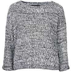 TOPSHOP TALL Slouchy Jumper (45.720 CLP) ❤ liked on Polyvore featuring tops, sweaters, shirts, jumpers, blusas, monochrome, slouchy sweater, grey sweaters, cut loose shirt and loose fit shirt